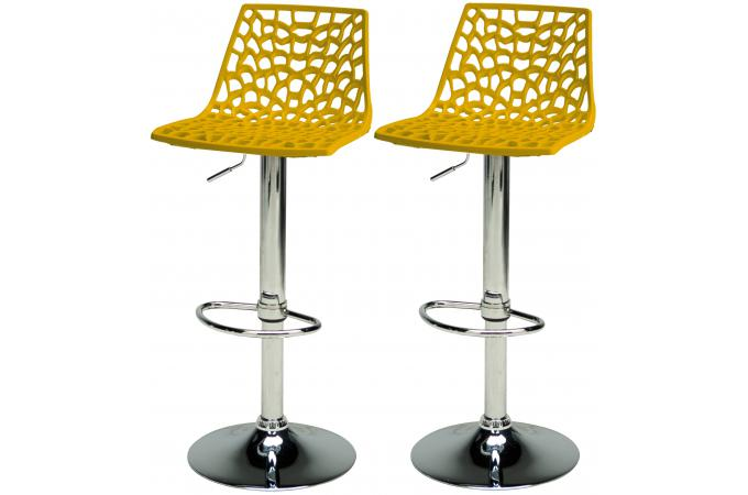 lot de 2 tabourets de bar ajustables jaunes sparte tabouret de bar pas cher. Black Bedroom Furniture Sets. Home Design Ideas