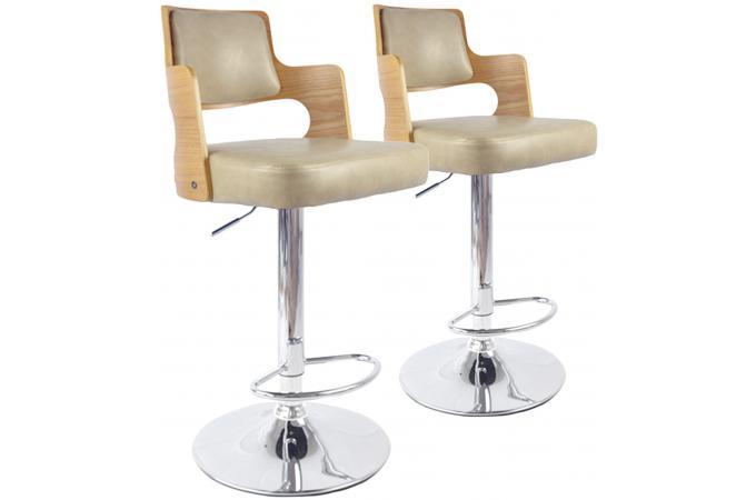 lot de 2 tabourets de bar ch ne clair et cr me kenza tabouret de bar pas cher. Black Bedroom Furniture Sets. Home Design Ideas