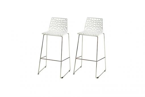 Lot de 2 Tabourets de Bar Design Blanc MASSILIA - Tabouret de bar design