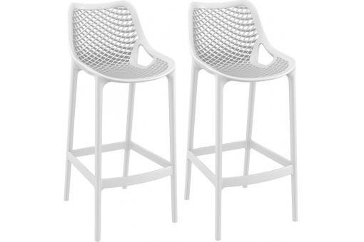 Lot de 2 Tabourets de bar design Blancs ALISON