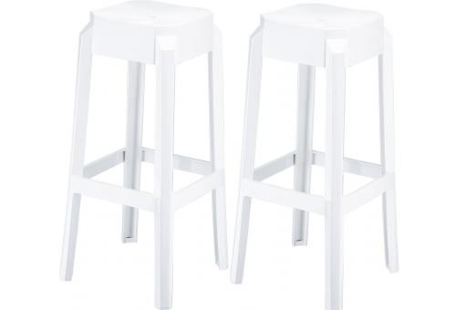 Lot de 2 Tabourets de bar design Blancs laqué BOXX