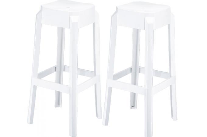 lot de 2 tabourets de bar design blancs laqu boxx chaise design pas cher. Black Bedroom Furniture Sets. Home Design Ideas