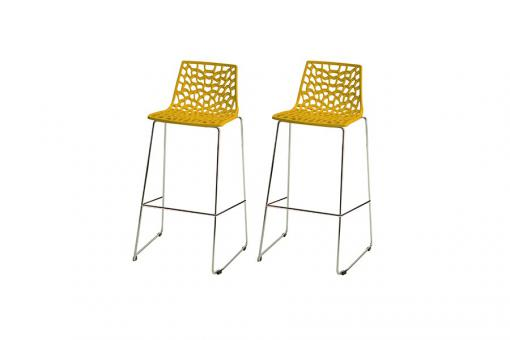 Lot de 2 Tabourets de Bar Design Jaune MASSILIA - Tabouret de bar design