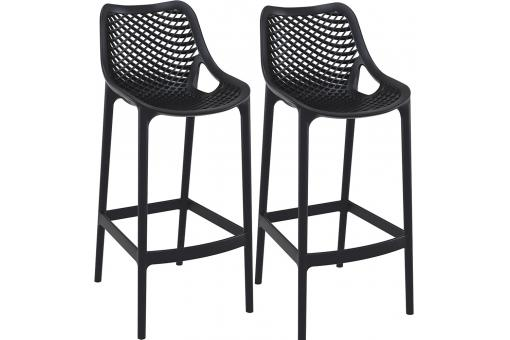Lot de 2 Tabourets de bar design Noirs ALISON