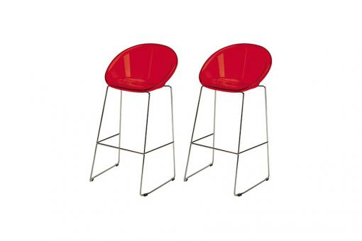 Lot de 2 Tabourets de Bar Design Rouge BOLD - Tabouret de bar design