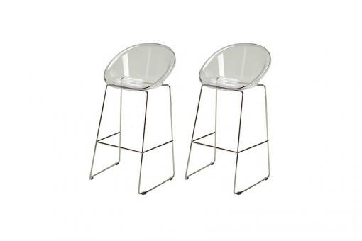 Lot de 2 Tabourets de Bar Design Transparent BOLD - Tabouret de bar design