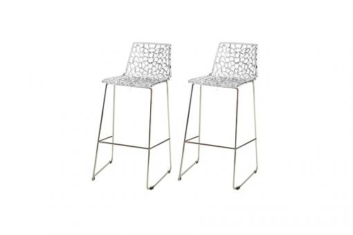 Lot de 2 Tabourets de Bar Design Transparent MASSILIA - Tabouret de bar design