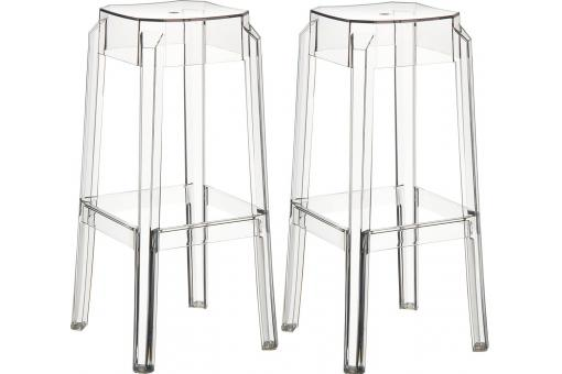 Lot de 2 Tabourets de bar design Transparents BOXX