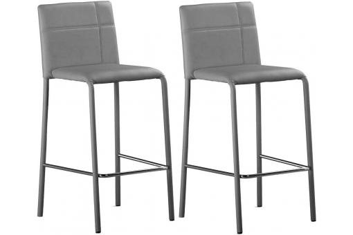 Lot de 2 tabourets de bar Gris PETER