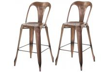 Lot de 2 Tabourets de Bar Industriels Avec Dossier Marron KIRK - Promotions Déco Design