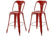 Lot de 2 Tabourets de Bar Industriels Avec Dossier Rouge KIRK - Tabouret de bar rouge design