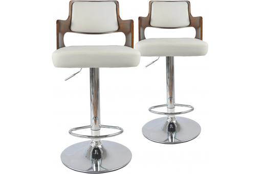 Lot de 2 tabourets de bar Noisette et Blanc KENZA - Tabouret de bar design