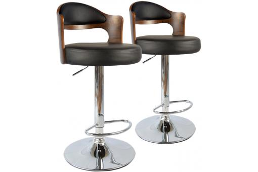 Lot de 2 tabourets de bar Noisette et Noir ISABELLA - Tabouret de bar design