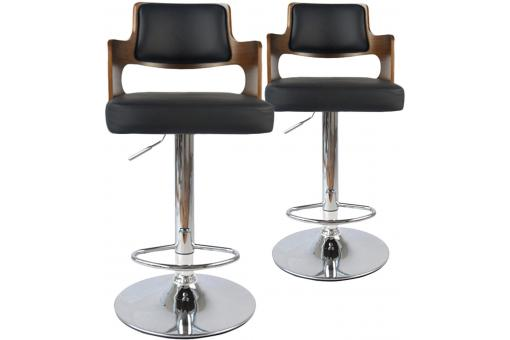 Lot de 2 tabourets de bar Noisette et Noir KENZA - Tabouret de bar design