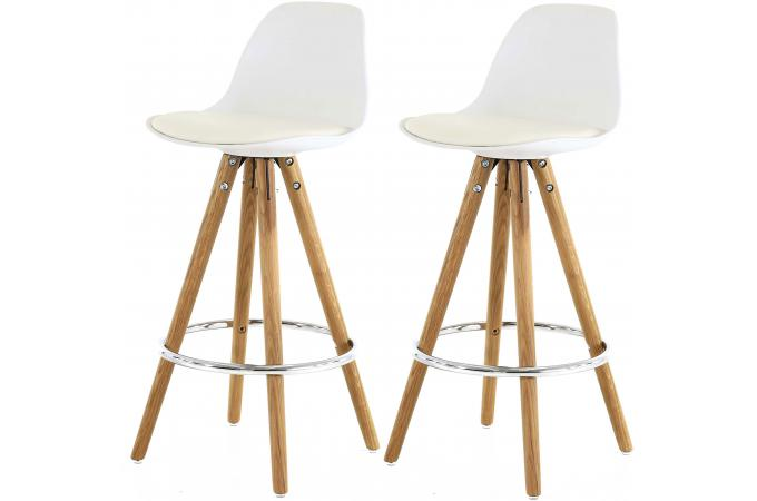 lot de 2 tabourets de bar scandinave blanc uma tabouret de bar pas cher. Black Bedroom Furniture Sets. Home Design Ideas