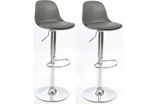 Lot de 2 tabourets Réhaussable Chrome imitation cuir Gris