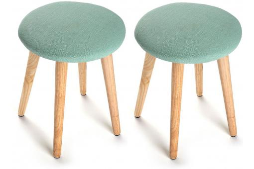 Lot de 2 Tabourets scandinaves ronds vert THEON