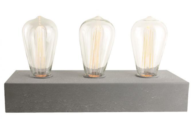 lampe poser avec 3 ampoules socle en b ton eureka ampoule filament design pas cher. Black Bedroom Furniture Sets. Home Design Ideas