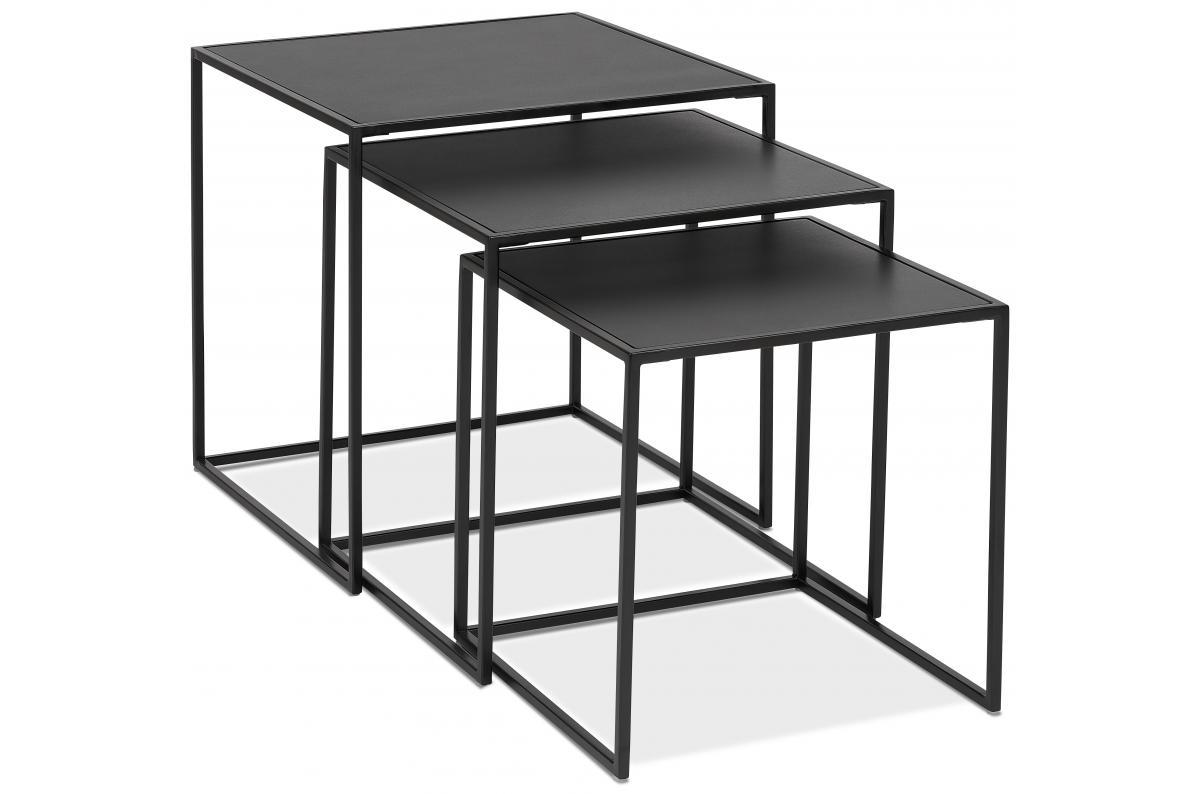 Lot De 3 Tables Basses Gigognes Carrees Noir Et Pietement En Metal