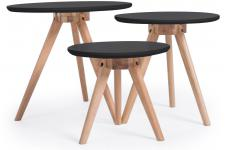 Lot de 3 Tables basses Scandinaves Noires TERZIO - Table basse design