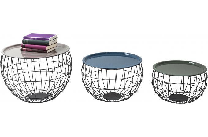 lot de 3 tables basses wire la costa table basse pas cher. Black Bedroom Furniture Sets. Home Design Ideas