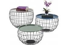 Lot De 3 Tables Basses Wire LA COSTA - Table basse noir design