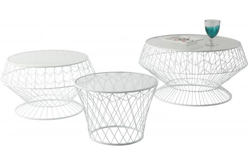 Lot De 3 Tables D'Appoint Blanches Wire