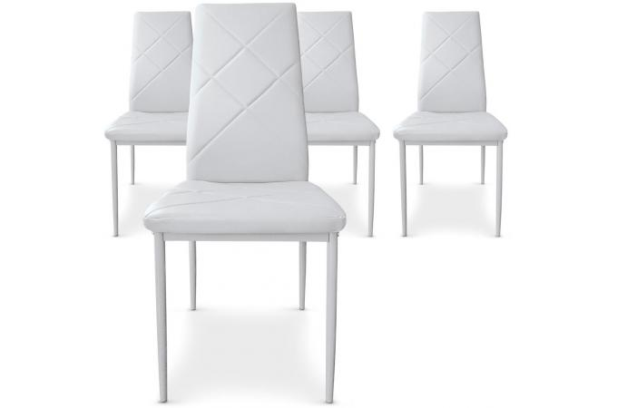 Lot de 4 chaises blanches en m tal saint marin chaise design pas cher - Lot 4 chaises blanches ...