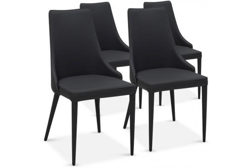 Lot de 4 chaises design Noir PAGAN