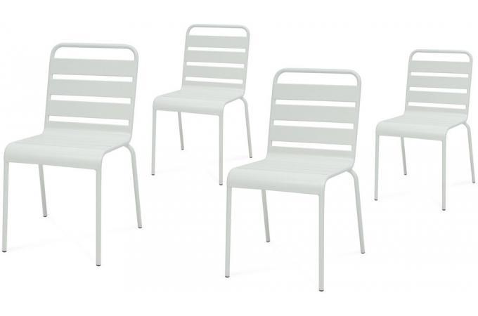 Lot de 4 Chaises Extérieur Métal Blanc ETTORE Plus d\'infos