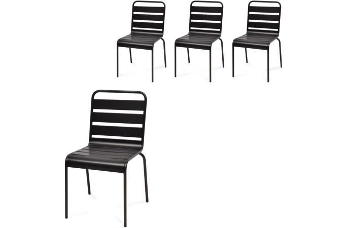 Lot de 4 Chaises Extérieur Métal Noir ETTORE - Fauteuil et Chaise de ...