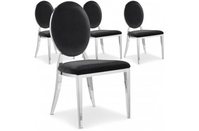 lot de 4 chaises noires velours sofia chaise design pas cher. Black Bedroom Furniture Sets. Home Design Ideas