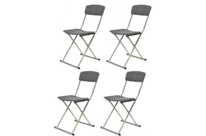 Lot de 4 chaises pliables gris fonc sigur chaise for Chaises pliables