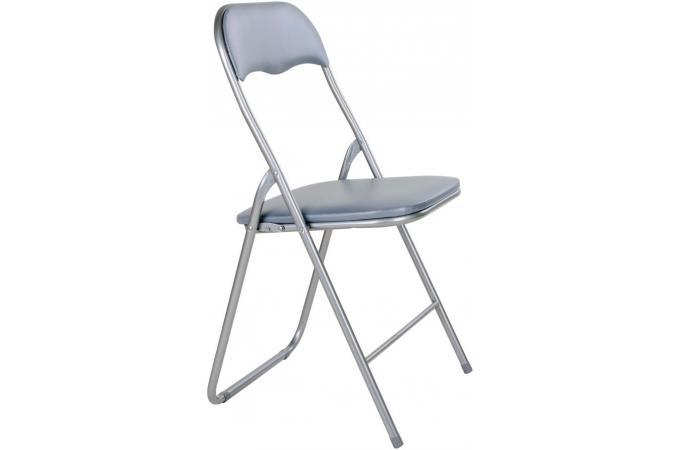 Ultra Lot de 4 chaises pliantes grises metal CARLOS - Chaise Pliante Pas VQ-71