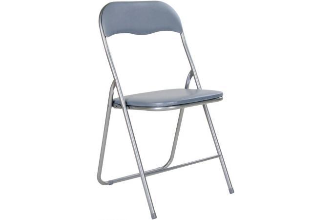 Nouveau Lot de 4 chaises pliantes grises metal CARLOS - Chaise Pliante Pas DQ-51
