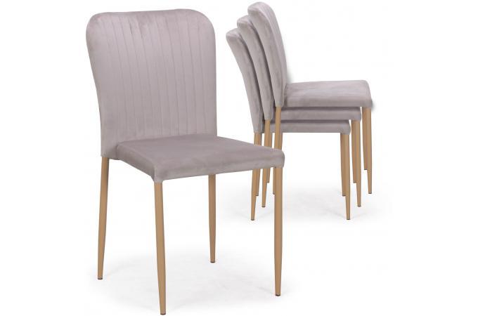 lot de 4 chaises scandinaves empilables en velours gris. Black Bedroom Furniture Sets. Home Design Ideas
