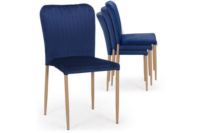 Chaises Empilables En 4 Velours Bleu Scandinaves Rouly Lot De 0wvN8nm
