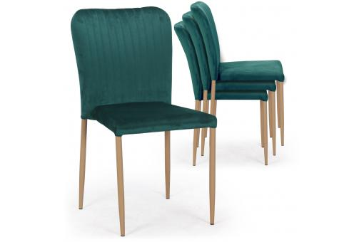 Lot de 4 Chaises Scandinaves Empilables en Velours Vert ROULY - Lot 4 chaises design