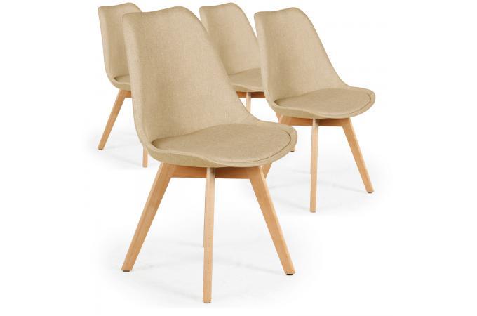 Lot de 4 chaises scandinaves en tissu beige wenda chaise for Chaise en tissu pas cher