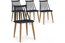 DeclikDeco - Lot de 4 Chaises Scandinaves Noires GATOU - Chaise design et tabouret design