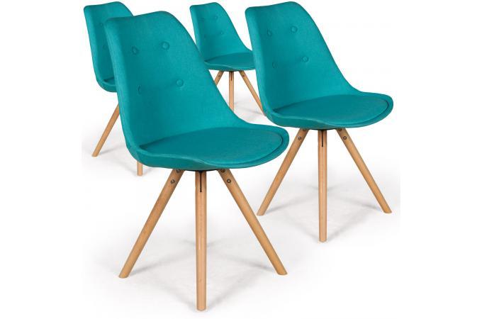 lot de 4 chaises scandinaves tissu bleu balgua chaise design pas cher. Black Bedroom Furniture Sets. Home Design Ideas