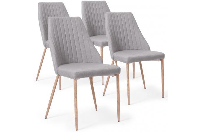 lot de 4 chaises scandinaves tissu gris clair tinglev chaise design pas cher. Black Bedroom Furniture Sets. Home Design Ideas