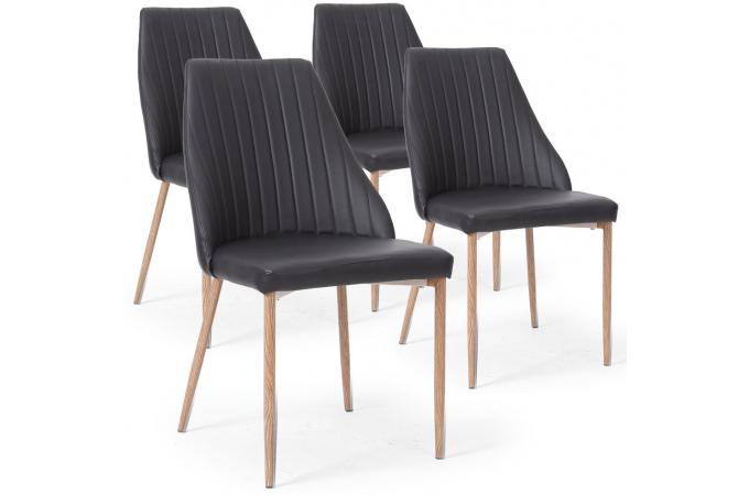 Lot de 4 chaises scandinaves simili noir tinglev chaise for Lot 4 chaises scandinaves