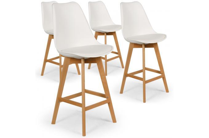 lot de 4 tabourets de bar blancs molde tabouret de bar pas cher. Black Bedroom Furniture Sets. Home Design Ideas