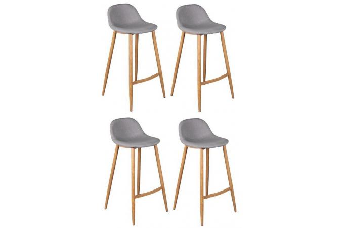 lot de 4 tabourets de bar scandinaves gris op tabouret de bar pas cher. Black Bedroom Furniture Sets. Home Design Ideas