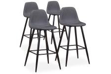 Lot de 4 Tabourets de Bar Tissu Gris KALMAR - Tabouret de bar design