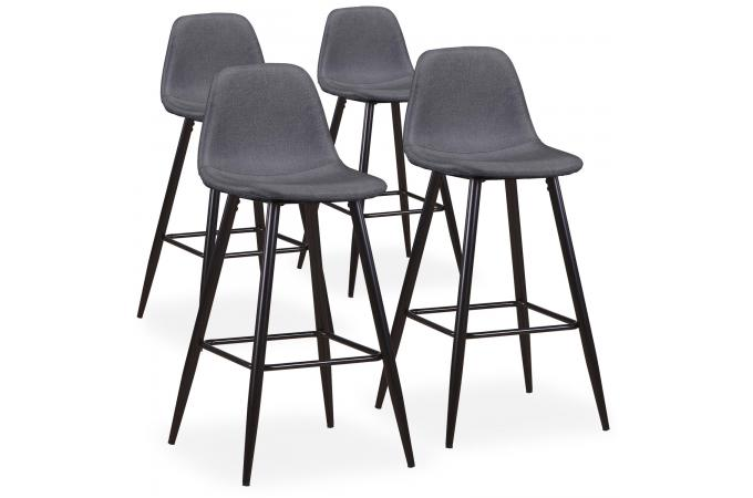lot de 4 tabourets de bar tissu gris kalmar tabouret de bar pas cher. Black Bedroom Furniture Sets. Home Design Ideas