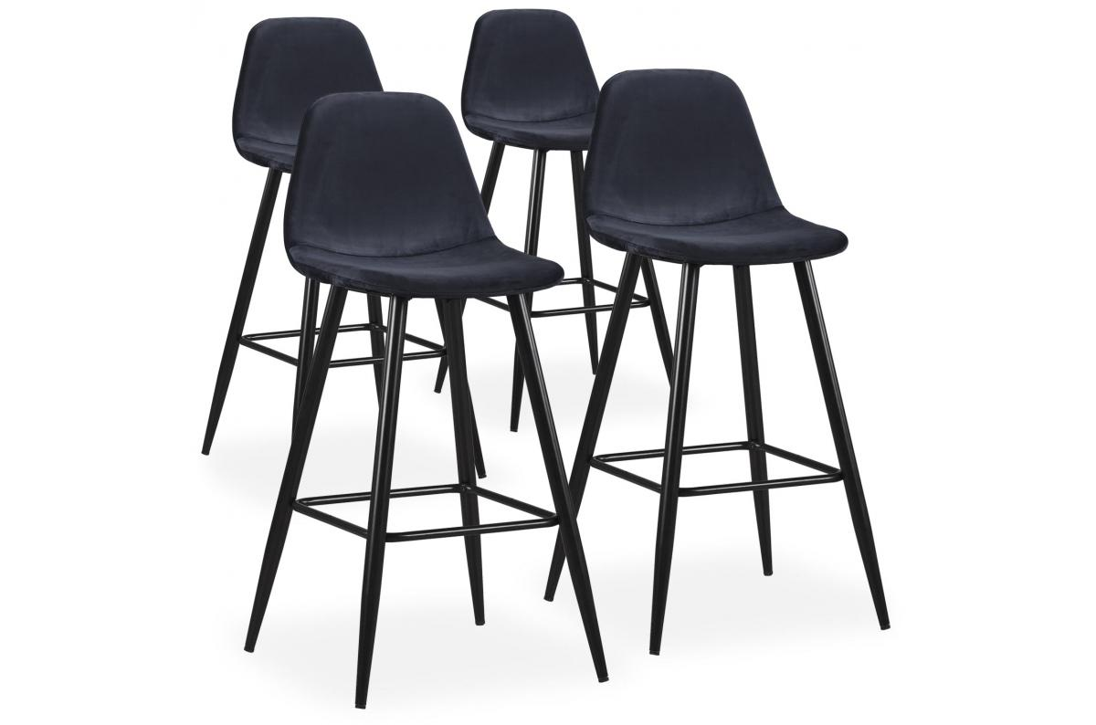 Lot De 4 Tabourets De Bar Velours Noir Kalmar Tabouret De Bar