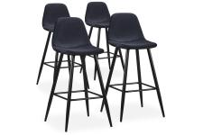 Lot de 4 Tabourets de Bar Velours Noir KALMAR - Tabouret de bar design