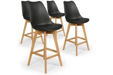 Lot de 4 tabourets de bar noirs MOLDE - Tabouret de bar design